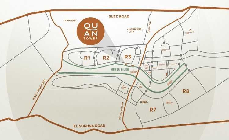 خريطة كوان تاور العاصمة الادارية